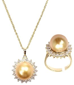 Other 18K YELLOW GOLD NATURAL PEARL RING AND NECKLACE SET