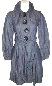 XOXO Denim Spring Trench Fitted Trench Coat