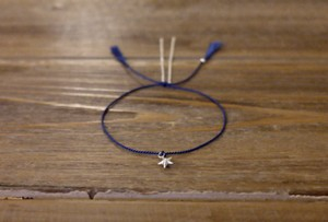 Anthropologie Minimal Modern Friendship Skinny Thin 100% Silk Thread Cord 925 Genuine Sterling Silver Tube Star Facet Bead Star Chain Bracelet Tassel blue Gift