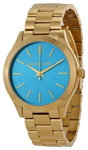 Michael Kors Michael Kors Blue Dial Gold Tone Stainless Steel Ladies Watch