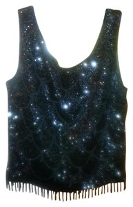 Sequin Beaded Evening Sparkle Top Black