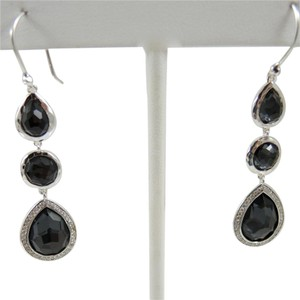 Ippolita Ippolita Sterling Silver .30tcw Stella Hematite Diamond 3 Stone Drop Earrings