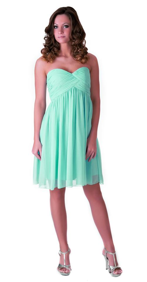 Light Blue Strapless Sweetheart Pleated Bust