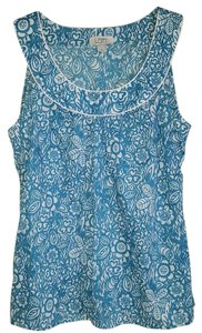 Ann Taylor LOFT Print Spring Summer Top Turquoise/white