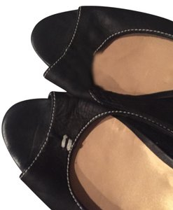 French Sole Slingback Wedge black Flats