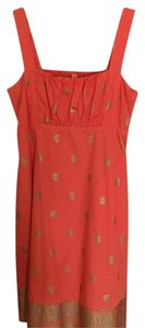 Anthropologie short dress Orange and gold on Tradesy