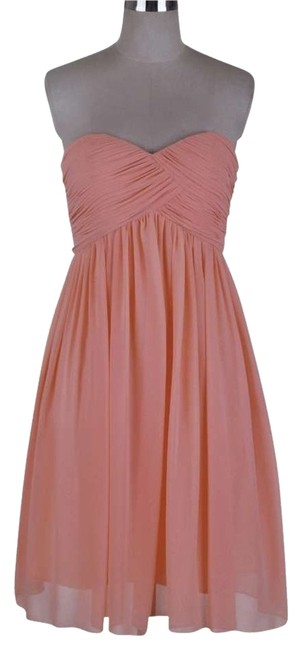 Preload https://item3.tradesy.com/images/peach-strapless-sweetheart-pleated-bust-chiffon-knee-length-cocktail-dress-size-20-plus-1x-155167-0-0.jpg?width=400&height=650