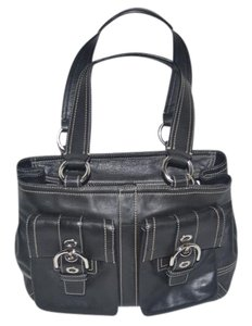 Coach Leather Silver Hardware Top Zip Satchel in Black