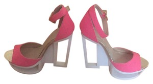 C Label Pink/ white Wedges