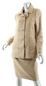 Bill Blass BILL BLASS Vintage Beige 100% Wool Tweed D-Breasted 3 Pc. Skirt/Pant-Suit- US6/8