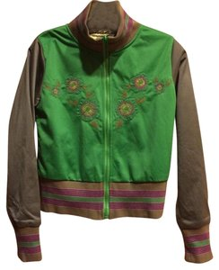 One A Reversible Reversible Satin Baseball GREEN Jacket