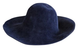 Navy blue floppy felt hat