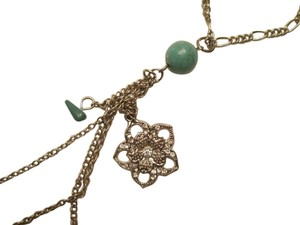 jcp Silver Necklace with turquois color design/ Silver flower. Long size Approx. 24