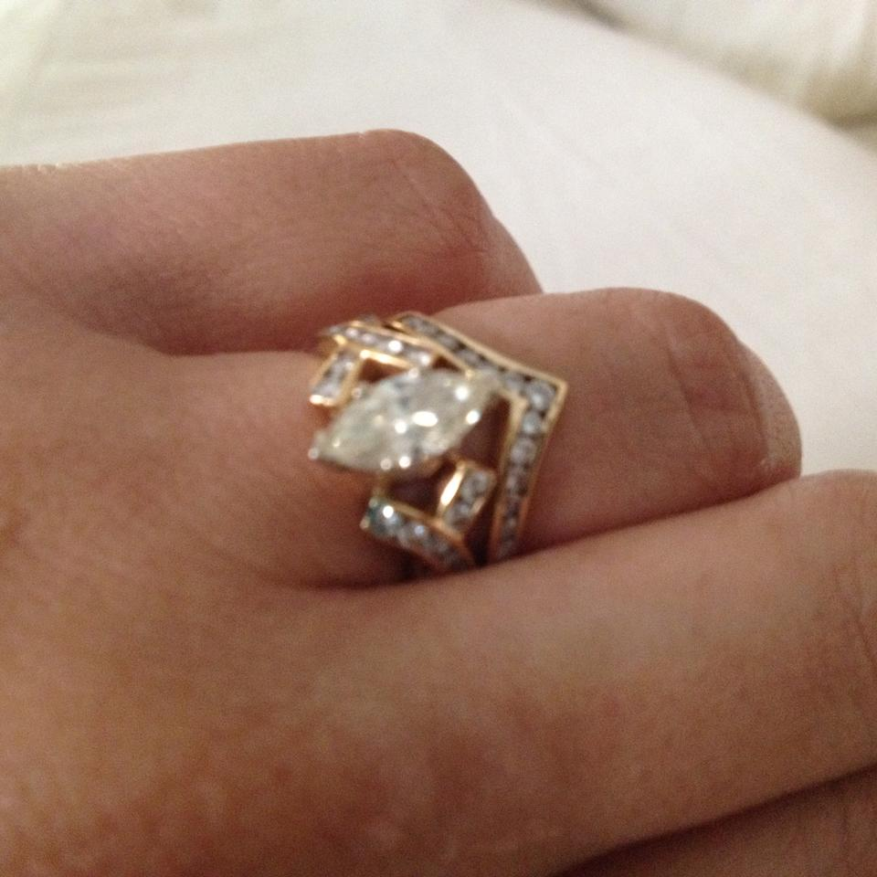 Gold Marquise Diamond Engagement Ring And Chevron Womens Wedding