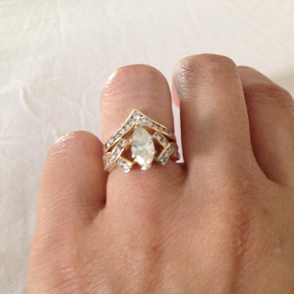 Marquise Diamond Engagement Ring And Chevron Wedding Band ...
