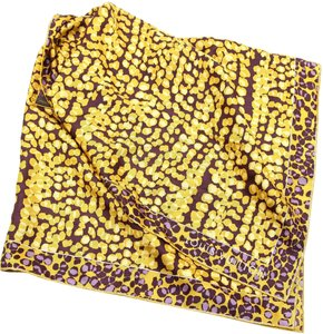 Louis Vuitton Louis Vuitton Silk Scarf Gold Yellow Purple Leopard Print Square Large