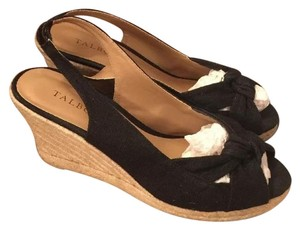Talbots Black Canvas Wedges
