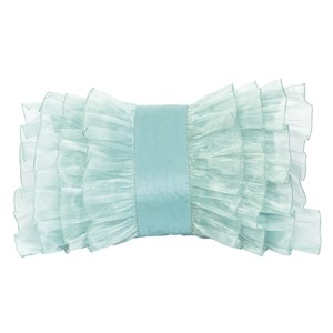 Turquoise Blue Silk Organza Bridal Gift Decorative Ruffle Throw Pillow