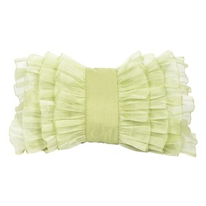 Green Silk Organza Bridal Gift Decorative Ruffle Throw Pillow