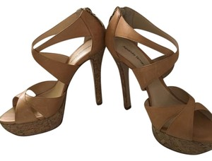 Alexandre Birman Leather Cork Platform tan / nude Pumps