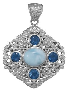 Sterling Collections Sterling Ornate Larimar and Blue Topaz Pendant