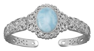 Sterling Collections Sterling Silver Ornate Larimar Cuff Bracelet