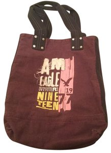 American Eagle Outfitters Messgenger Tote in Maroon Cream And Brown