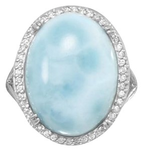 Buy 1 item, Get 1 item Free (Pendant) Large Rhodium Plated Oval Larimar and CZ Ring