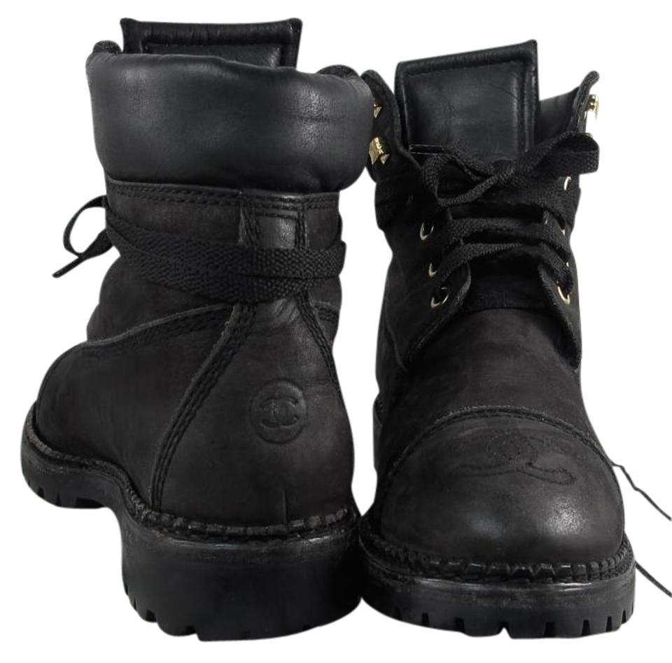 65d9fae4250 Chanel Black Vintage Cc Combat Military Leather Lace Up Boots Booties. Size   EU 39 (Approx.