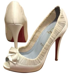 Christian Louboutin Wedding Satin Chiffon Something Blue White Formal