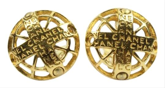 Chanel [ENTERPRISE]Logo Cross Pendant Clip On Earrings Rare CEGR02