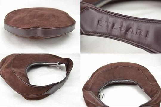 BVLGARI Hand Hand Purse Leather Leather Suede Suede Hand Leather Shoulder Bag