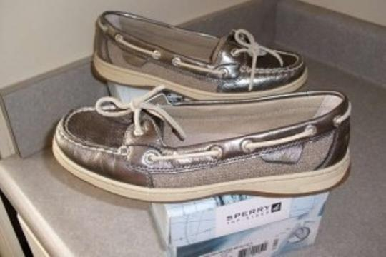 Sperry Pewter Metallic Flats