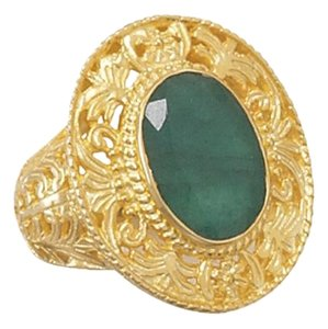 Ornate 14 Karat Gold Plated Rough-Cut Emerald Ring