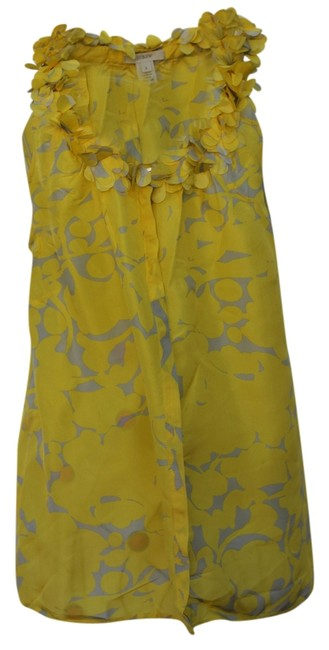 Item - Silk Blouse with Amazing Collar Yellow and Gray Design Top