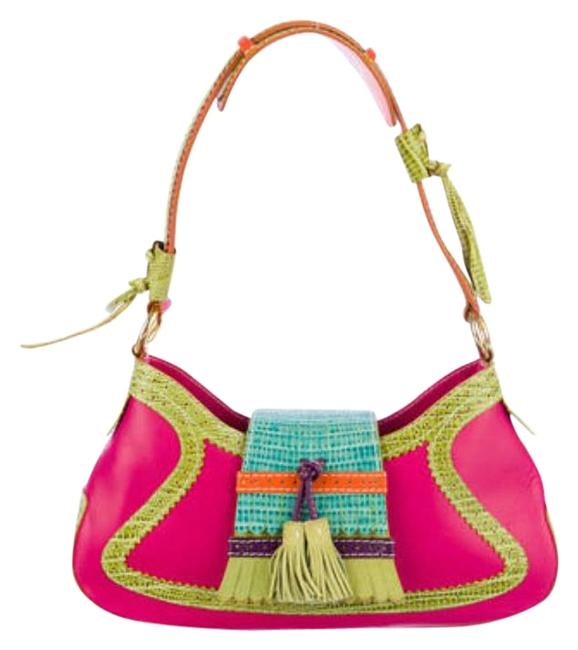 Item - Multicolor Small Baguette Multi Pink Green Teal Orange Gold Tone Embossed Leather Leather Suede Nylon Lining Shoulder Bag