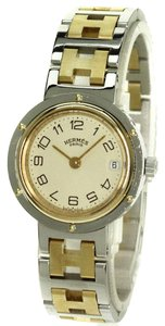 Hermès Hermes Two Tone Ladies Wristwatch With H Monogram Quartz Movement