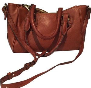 J.Crew Leather Satchel in Cognac