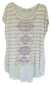 Miss Me Studded Embellished Burnout T Shirt White and peach