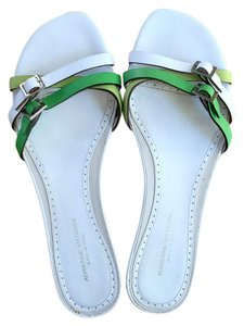 Adrienne Vittadini Leather Slides Leather Mules White and Green Sandals
