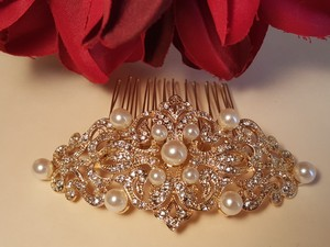 Bridal Gold Plated Austrian Crystals Faux Pearls Hair Comb