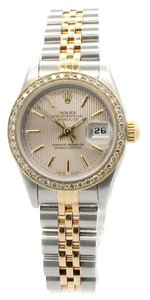 Rolex 18K /SS DateJust Satin Tapestry dial with custom diamond bezel ladies Watch