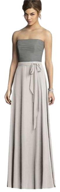 After Six Oyster / Charcoal Gray 6677 Long Night Out Dress Size 6 (S) After Six Oyster / Charcoal Gray 6677 Long Night Out Dress Size 6 (S) Image 1