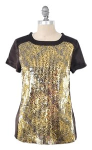 Magaschoni Nwt Boxy Silk Charmeuse Sequin Top Chocolate Brown