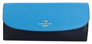 Coach Coach Colorblock Crossgrain Soft Leather Wallet Azure Multi 53777