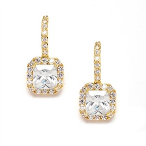 Radiant Cut Crystal Drop 18k Gold Bridal Earrings