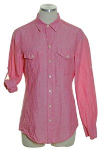 Banana Republic Flax Linen Blend Pockets Button Down Shirt Pink