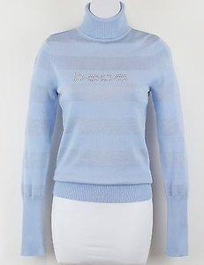 bebe Light Blue Tonal Stripe Rhinestone Turtleneck B103 Sweater