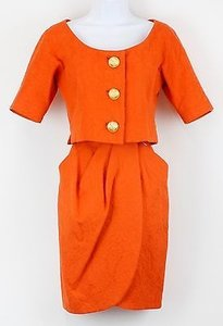 Anne Klein Anne Klein Vtg Orange Textured Cotton Wrap Skirt Suit B102
