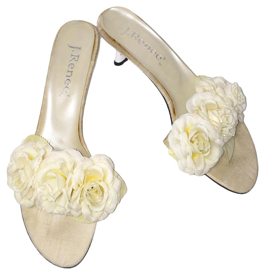 J Rene Floral White Flower Mid Heel Open Toe Sandals Size Us 10